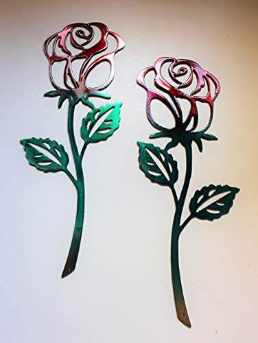 Rose Metal Wall Art Accent Red & Green Pair of Roses 12