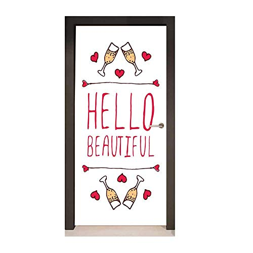 Hello 3D Door Sticker Saint Love Valentines Day Celebration Text Typography and Glasses of Champagne Decor Door Mural Peach Red White,W23.6xH78.7