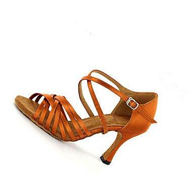 XIAMUO Anpassbare Damen Tanz Schuhe Satin Latin Jazz Swing Salsa Schuhe Sandalen Fersen angepasste Ferse Praxis Anfänger professionelle, Braun, EU/US7.5 38/UK5.5/CN 38