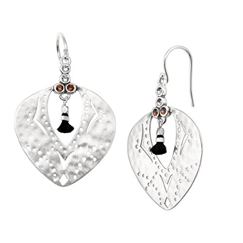 Silpada 'Tassel Fringe' Cut-Out Drop Earrings with Swarovski Crystals in Sterling Silver