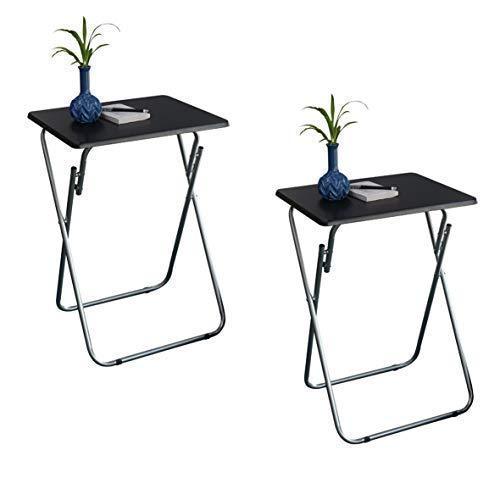 eHemco Set of 2 Folding Tv Trays Tv Tables - Black Tops (Tables Folding Tray Tv Vintage)