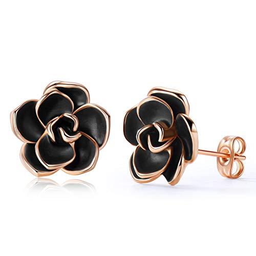 Acefeel 18K Rose Gold Plated Rose Flower Stud Earrings with Black Enamel for Women 13mm