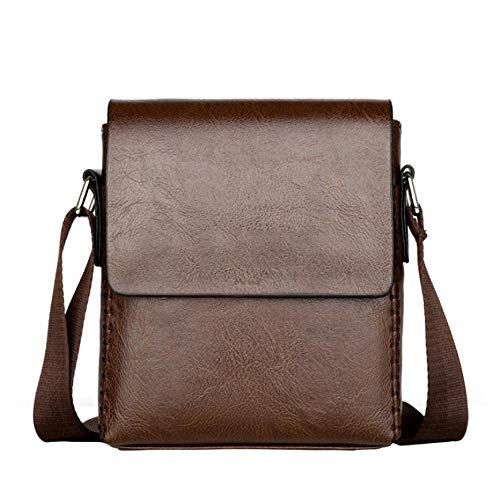 Business Solid Color Flap Faux Leather Briefcase Men Crossbody Shoulder Bag – Brown
