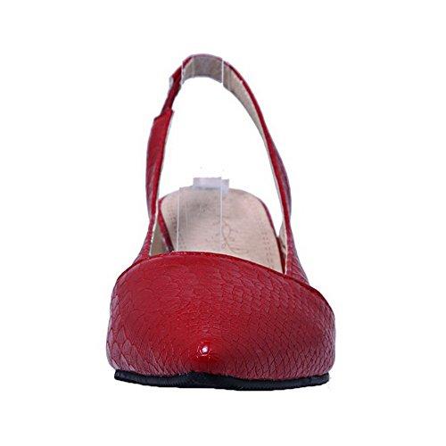 Amoonyfashion Kvinna Låga Klackar Pu Rutiga Pådrags Pekade Tå Pumpar-skor Röd