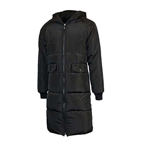 Realdo Mens Winter Zipper Hoodie Cotton Padded Coat Water Resistant Large Size Outwear Parka(Small,Black)