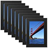 Tempered Glass 8PCs 4x6 Picture Frame Black Wood Frame for Wall and Tabletop (Mounting Material Included)