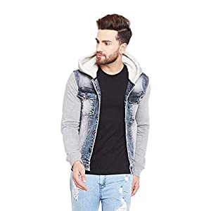 FUGAZEE Men's Denim Fur Hooded Jacket