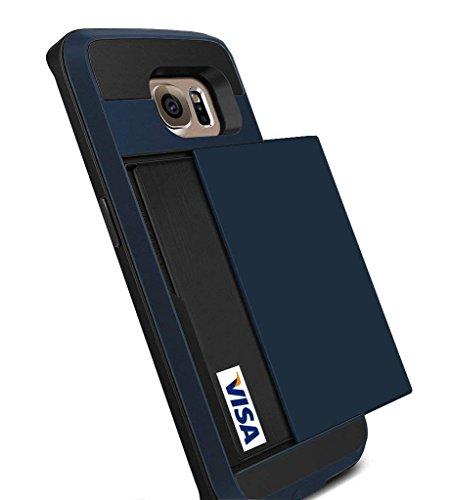 Galaxy S6 Edge Case, Anuck Galaxy S6 Edge Wallet case [Anti Scratch][Heavy Duty][Card Pocket] Dual Layer Shockproof [Soft Rubber Bumper] Hybrid Protective Case for Samsung Galaxy S6 Edge - Dark Blue