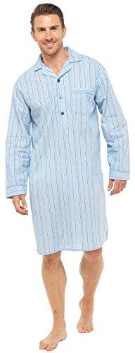 Sleepy Joes Nightwear Mens Lightweight Poplin 100% Cotton 1952 Nightshirt Pale Blue Stripe L (Cotton Nightshirt)