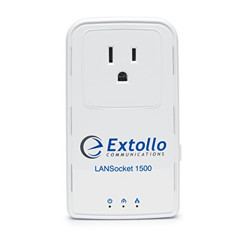 Extollo Ethernet Powerline LANSocket 1500 HomePlug AV2 MIMO 2 Gbps Adapter Kit