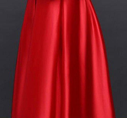 Le Soir De Satin Longue Des Femmes Drasawee Bridemsaid Robes À Manches Rouges