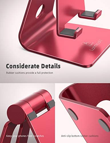 Adjustable Cell Phone Stand, Lamicall Phone Stand : [Update Version] Cradle, Dock, Holder Compatible with iPhone Xs XR 8 X 7 6 6s Plus SE 5 5s 5c Charging, Accessories Desk, Android Smartphone – Red 41LjhCt7Y 2BL