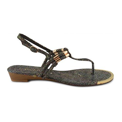 Footwear Sensation - Tacón bajo, sujeción de dedo mujer Negro - negro
