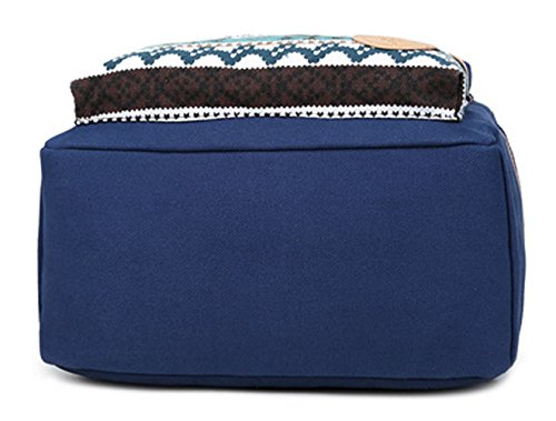 Tibes Mochila de lona vintage Mochila escolar mochilas / mujeres Azul profundo