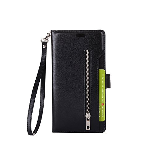 Galaxy Note 8 Case, SUPZY Leather [9 Card slots] [photo & wallet pocket] Multi-function Premium PU Leather Magnetic Flip Shockproof Zipper Wallet Case Cover for Samsung Galaxy Note 8 (Black)