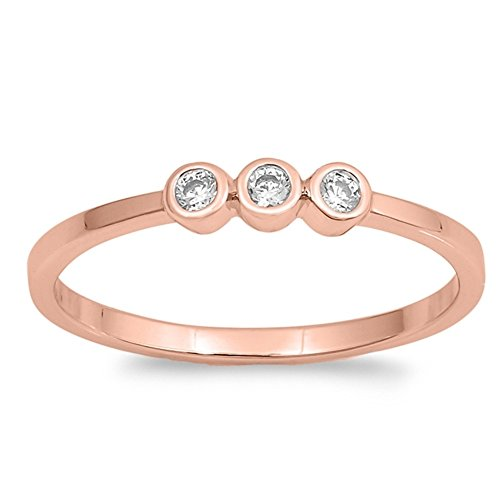 (Clear Bezel Set Cubic Zirconia Stackable Ring Rose Gold-Tone Plated 925 Sterling Silver Size 9)