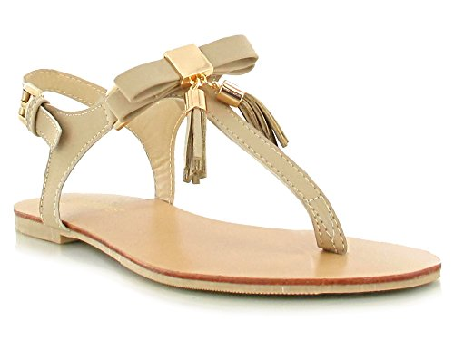 Nude Faux Nubuck Gold Bow Buckle and Tassel Detailing Thong Toe Post Flat Sandals Super Comfy Flats for a Casual Summer Look Women's Daytime/Evening Holiday Footwear Nude 9MIeB