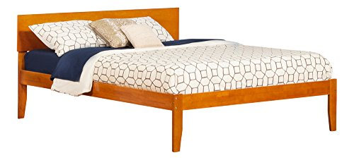 Atlantic Furniture AR8141007 Orlando Platform Bed with Open Foot Board, Queen, Caramel