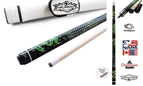 Champion Green Dragon Pool Cue Stick, Billiard Glove, Predator 314 Taper, 12.75mm, Retail Price: MSRP $220 (19 oz, White Case)