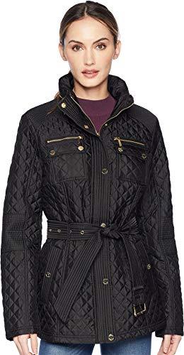 - Michael Michael Kors Women's Belted Short Snap Front Quilt M423454GZ Black Medium