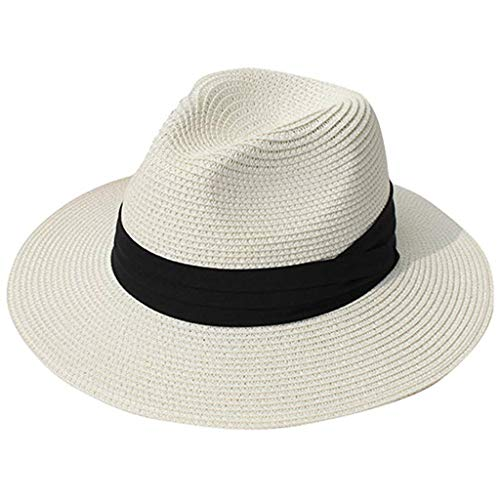 Chirpa Unisex Beach Straw Hat Jazz Sunshade Panama Trilby Fedora Hat Gangster -