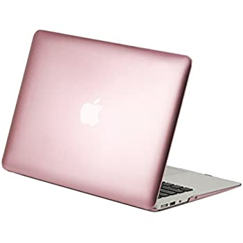 """TOP CASE - Air 13-Inch Rubberized Plastic Hard Case Cover for MacBook Air 13"""" (A1369 and A1466) - Rose Gold"""