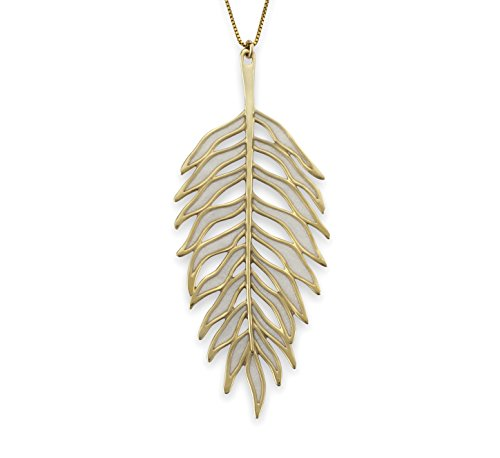 Palm Pearl Pendant (Adina Plastelina 24K Gold Plated Silver (Vermeil) Palm Leaf Pendant Necklace with Pure Pearl Color Pattern, 16.5