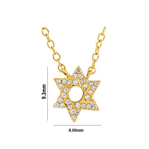 Libertini Colliar argent 925 plaque or Jaune serti de Diamant en forme de Étoile