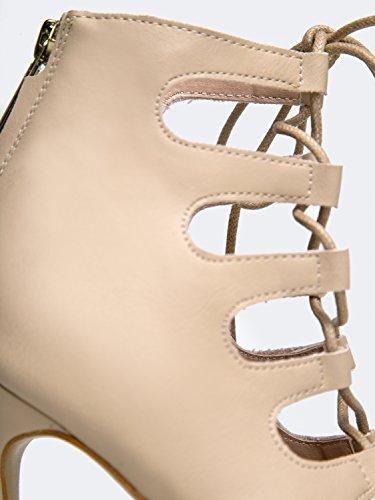 Marbel Dentelle Haut Talon - Lanière De Fête Pompe - Bracelet Robe Formelle Mariage Chaussures De Soirée - Haut Talon J Adam Beige