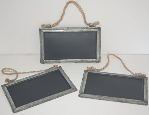 Shabby Cottage Chic Small Tin Framed Blackboard (Pack of Three) ()