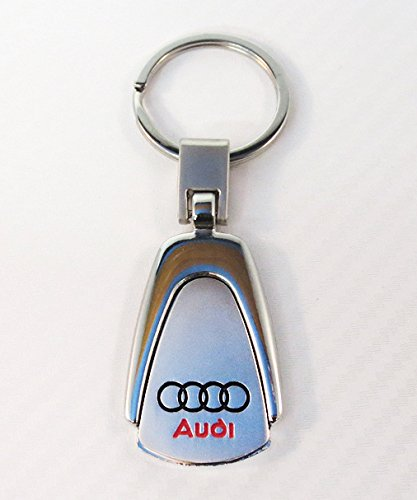 Key Keychain Metal Ring Chrome (AUDI Key chain Teardrop Key Ring Stainless Steel Metal Chrome Finish Engraved)