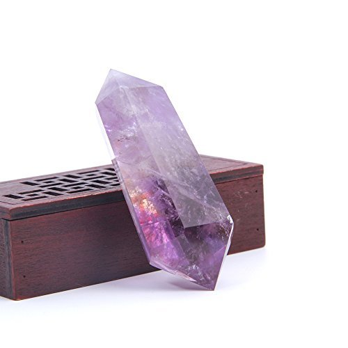 Hongjintian Natural Rock Amethyst Reiki Healing Quartz Crystal Points / Column APPROX. 3.15inches (Error 5mm)