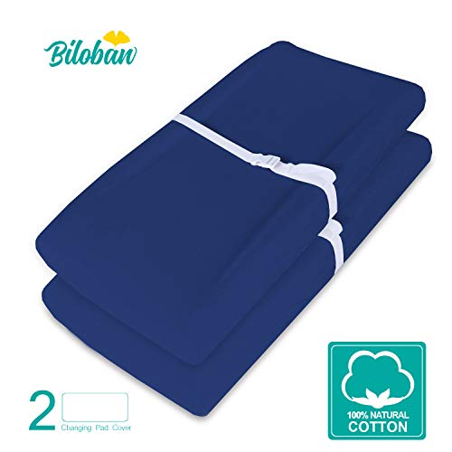 Changing Pad Cover/Change Table Cover Sheets, 2 Pack Navy Blue Changing Pad Covers, Waterproof, Ultra Soft Natural Cotton