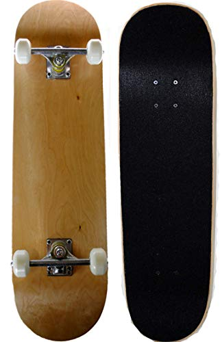 Runner Sports Complete Full Size Standard Maple Deck Skateboard (Natural Wood) (Natural Wood Skateboard)