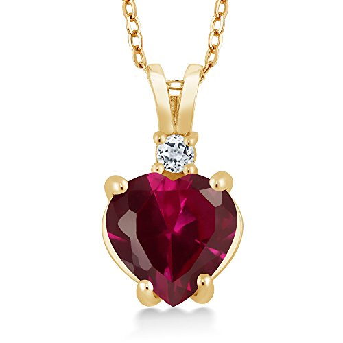 Gem Stone King 2.27 Ct Heart Shape Red Created Ruby White Topaz 14K Yellow Gold Pendant