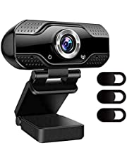 Webcam With Microphone, 1080P HD Camera USB Computer Webcam Plug And Play For Online Teaching/Video Conferencing/Recording And Streaming (Black)