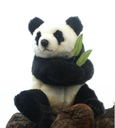 Sitting Panda Bear - Hansa Panda Bear Cub Stuffed Plush Animal, Sitting with Velco Hands by Hansa