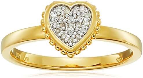 Cluster Heart Bead-Design Diamond Ring (1/10cttw, I-J Color, I2-I3 Clarity)