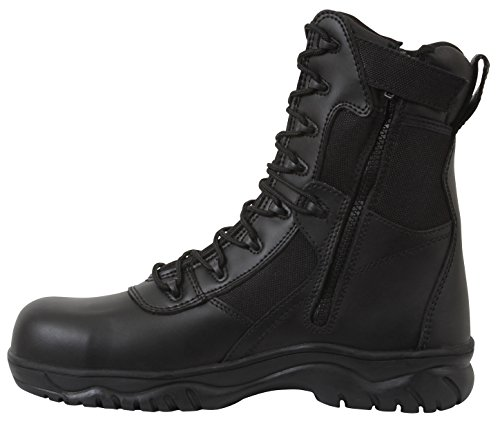 (Rothco 8 Inch Forced Entry Tactical Boot with Side Zipper & Composite Toe, Black, 11)
