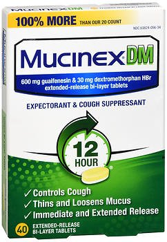 Mucinex DM Expectorant and Cough Suppressant, 600mg, Extended-Release Bi-Layer - 40 Tablets, Pack of 5