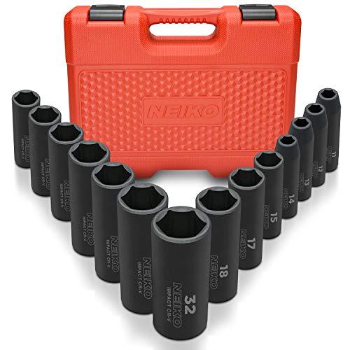 "(Neiko 02475A 1/2"" Drive Deep Impact Socket Set, Cr-V Steel, 6-Point | 14-Piece Set | Metric 11-32mm)"