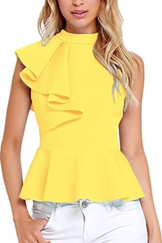 Dearlovers Women Ruffle Side Casual Peplum Top Shirt