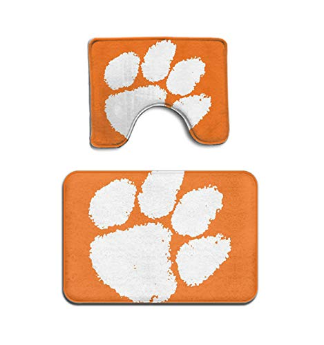 - Beach Surfer Clemson Tiger Paw Football South Carolina Territory Bath Mat Bathroom Carpet Rug Washable Non-Slip 2 Piece Bathroom Mat Set
