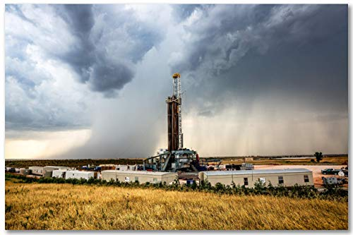 Oil and Gas Wall Decor Art Print of Drilling Rig and Storm in Oklahoma Oilfield. Unframed Photo Picture Artwork 5x7 to 40x60