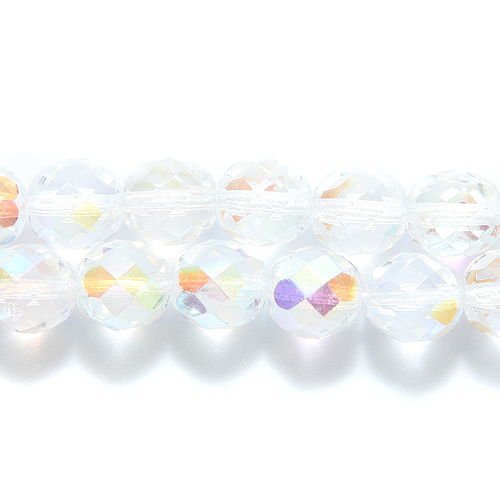 Preciosa Fire 8mm Polished Glass Bead, Faceted Round, Crystal Aurora Borealis,
