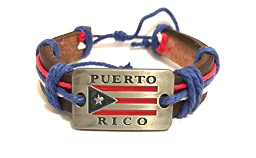 Boricua Styles CooL Puerto Rico Leather wristband Bracelets Puerto Rican Wristband Bracelets style (Rico Wristband)