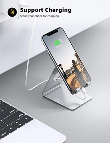 Lamicall Cell Phone Stand, Phone Dock : Cradle, Holder, Stand for Desk Compatible with iPhone 11 Pro Xs Xs Max Xr X 8 7 6 6s Plus, All Android Smartphones, Switch Charging, Office Accessories- Silver