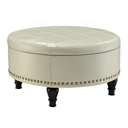 Office Star Augusta Eco Leather Storage Ottoman, Cream