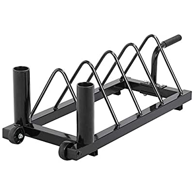 Yaheetech Horizontal Barbell Bumper Plate Rack Holder Olympic Bar Storage Rack with Handle and Wheels?Black