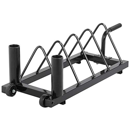 Yaheetech Horizontal Barbell Bumper Plate Rack Holder Olympic Bar Storage Rack with Handle and Wheels,Black